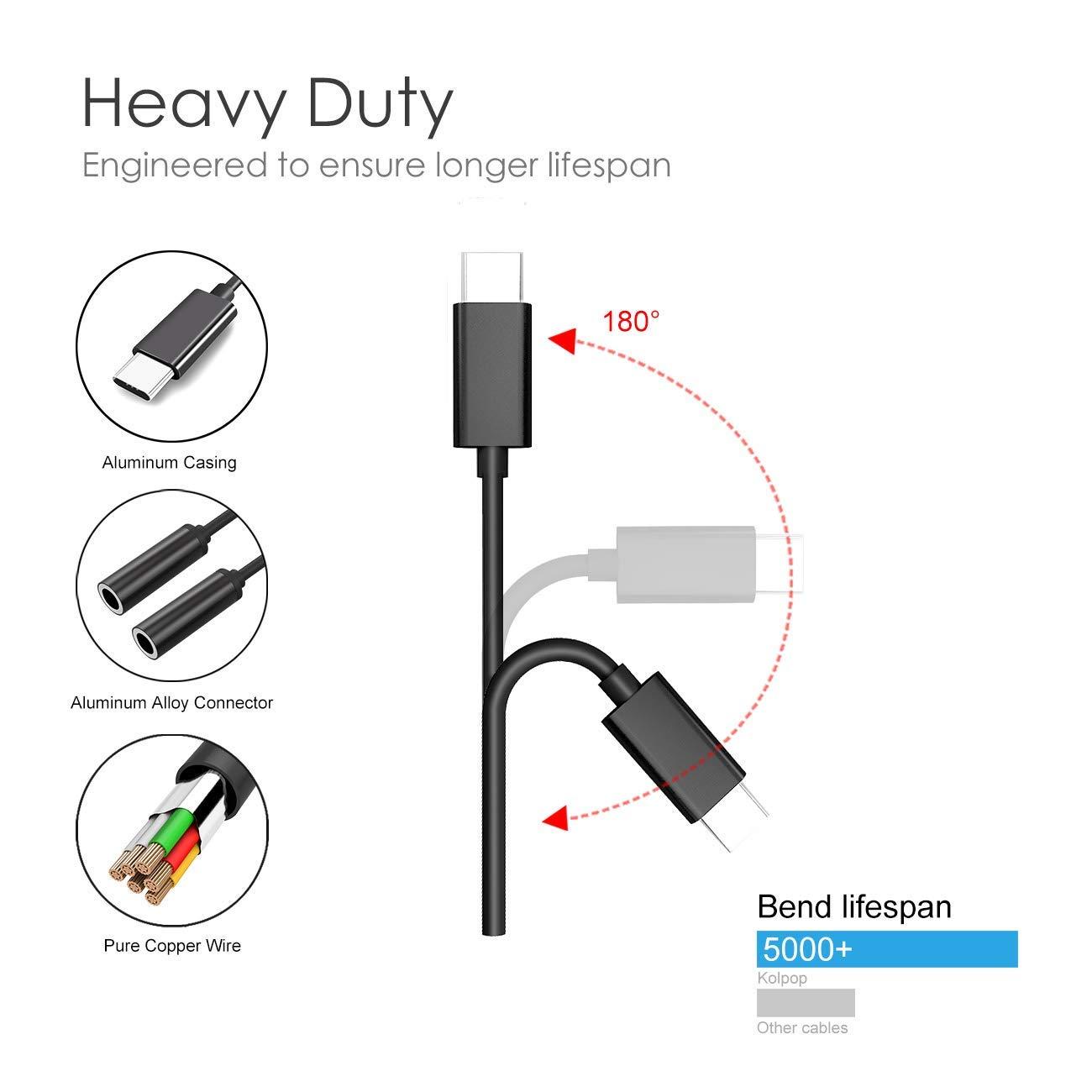 HTC U11 Mate 10//20 Pro Huawei P20 P30 Pro Kolpop USB C Audio y Splitter Cable Type C Macho a 3.5 mm Auriculares Dobles Stereo Jack de Audio con Chipset DAC para iPad Pro 2018 Pixel 3//2 XL