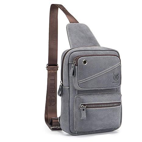 a0006ab6b2b Amazon.com  QUORA Men Genuine Leather Business Casual Brown Black Shoulder  Crossbody Bag (Grey)  Automotive