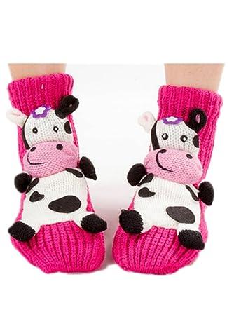 3D Cartoon Cow Knitted Anti-skid Slipper Socks Warm Christmas ...