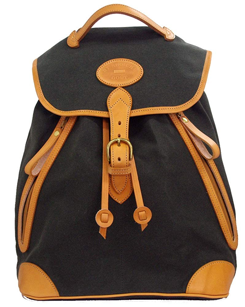 グーワタナベ(guu-watanabe) 巾着型 縦長 6号帆布 オリーブ 牛革 ナチュラル 前ファスナー2   B07RS9YQ11