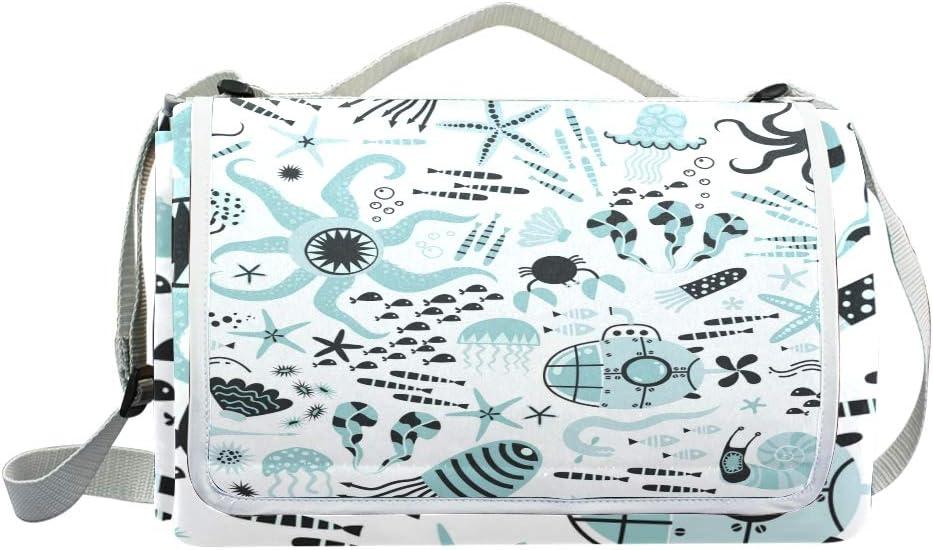XINGAKA Coperta da Picnic Tappetino Campeggio,Baby Seamless Pattern Ocean Life Underwater,Giardino Spiaggia Impermeabile Anti Sabbia 15