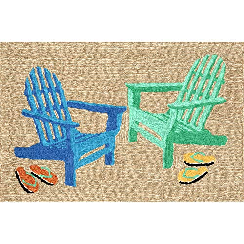 Liora Manne FTP23146604 Front Porch Whimsy Coastal Adirondack Chairs On Beach Cabin Indoor/Outdoor Area Rug 2' X 3' Sand Tan