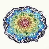 Beach Towel Round Beach Throw Tassel Decor with Small Balls Flowers Pattern 143*143CM Circular Tablecloth Yoga Picnic Mat