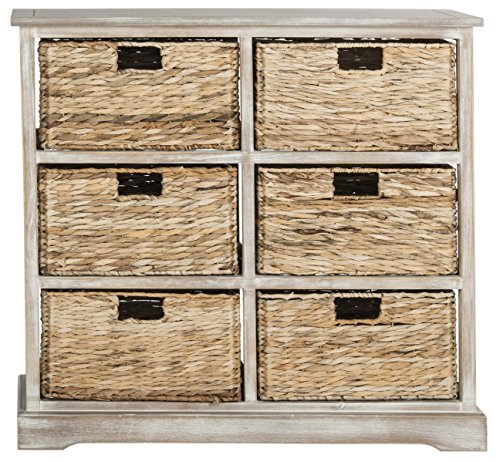 6 Wicker Baskets (Safavieh American Homes Collection Keenan Vintage White 6 Wicker Basket Storage Chest)