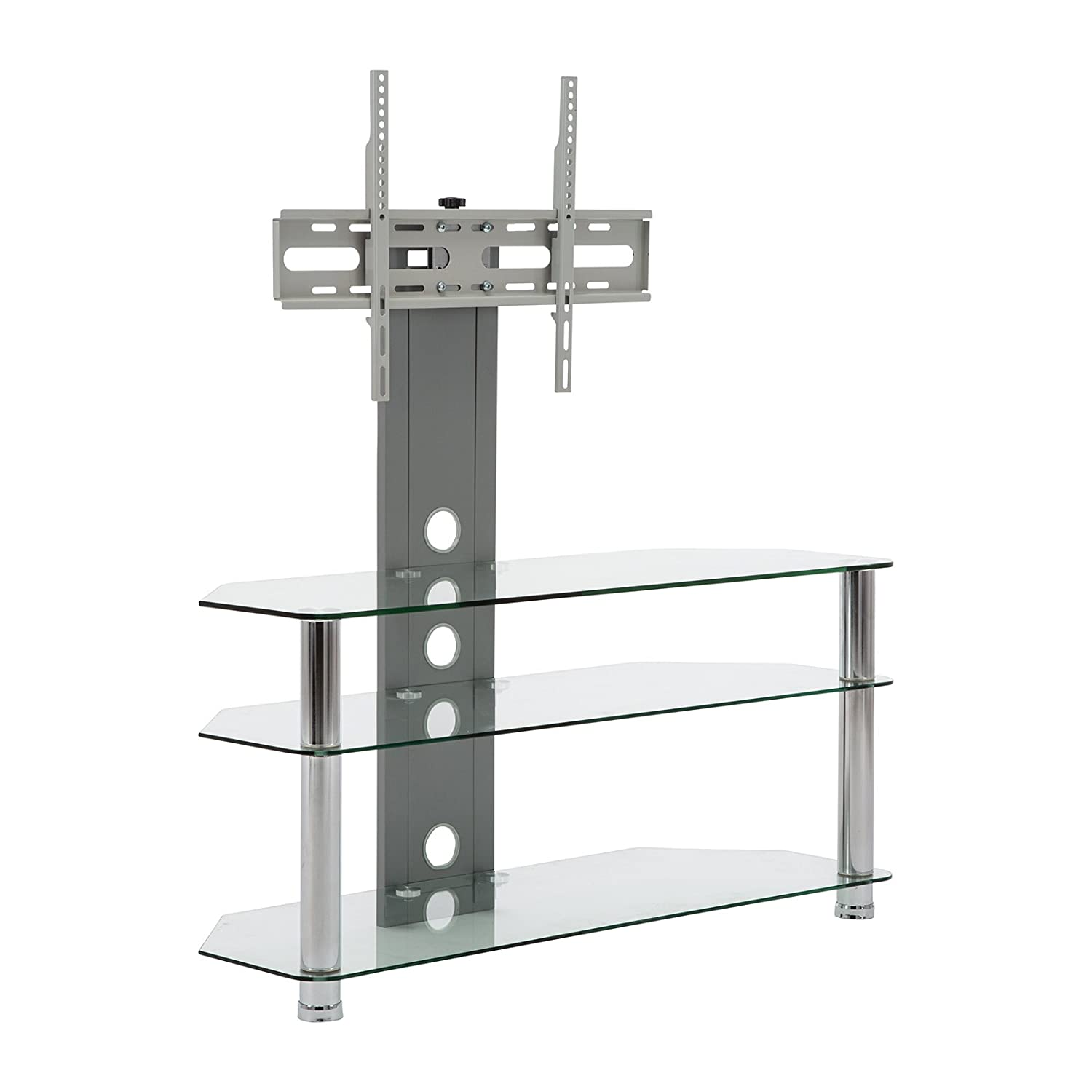 Clear Glass Floor TV Stand With Mount – Fits Flat Panel LED LCD Plasma TV s From 30- 60 Inch – Sturdy, Easy To Assemble Aluminium Silver Finish Three Glass Shelves Cable Management