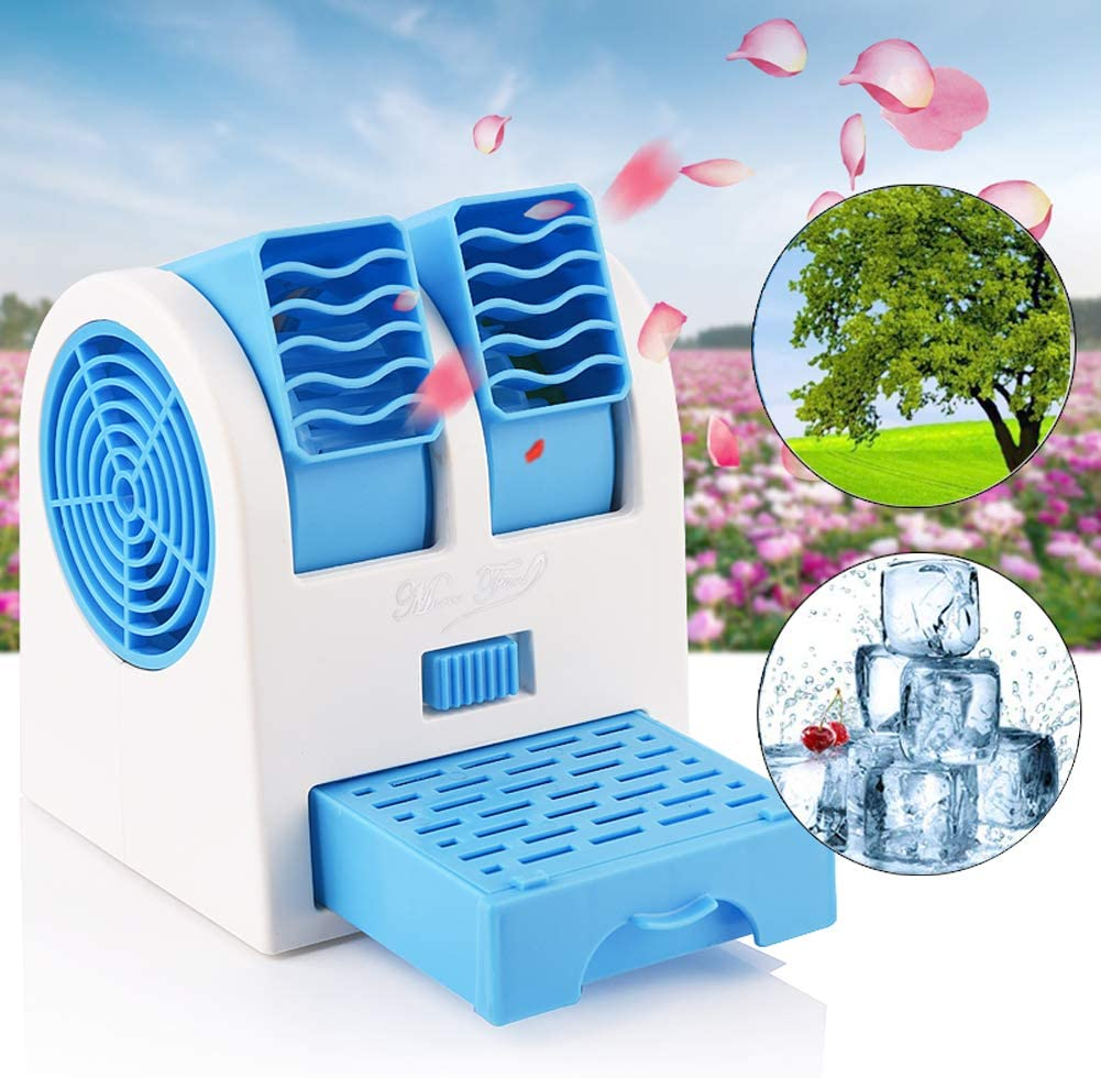 Mini Air Conditioner, Air Coolers, Portable Personal Space Arctic Air, 3 in 1 Portable Personal Space Cooling Fans (Usb or Battery Powered), for Home/Bedroom/Office/Outdoor (Blue)