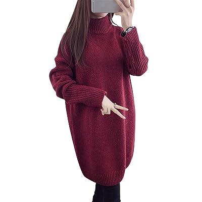 Yangfan Womens Long Sleeve High Collar Knit Korean Sweater Fall Pullover