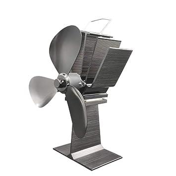 3 cuchillas Ventilador de aire Calentador de estufa de leña Ventilador de aire pequeño motor Quemador de leña duradero Ventilador de chimenea duradero ...