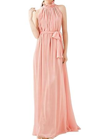 b6f3f5411ca sourcing map Femme Col Montant sans Manche Plissé Elegant Robe Longue  Mousseline - Rose Clair