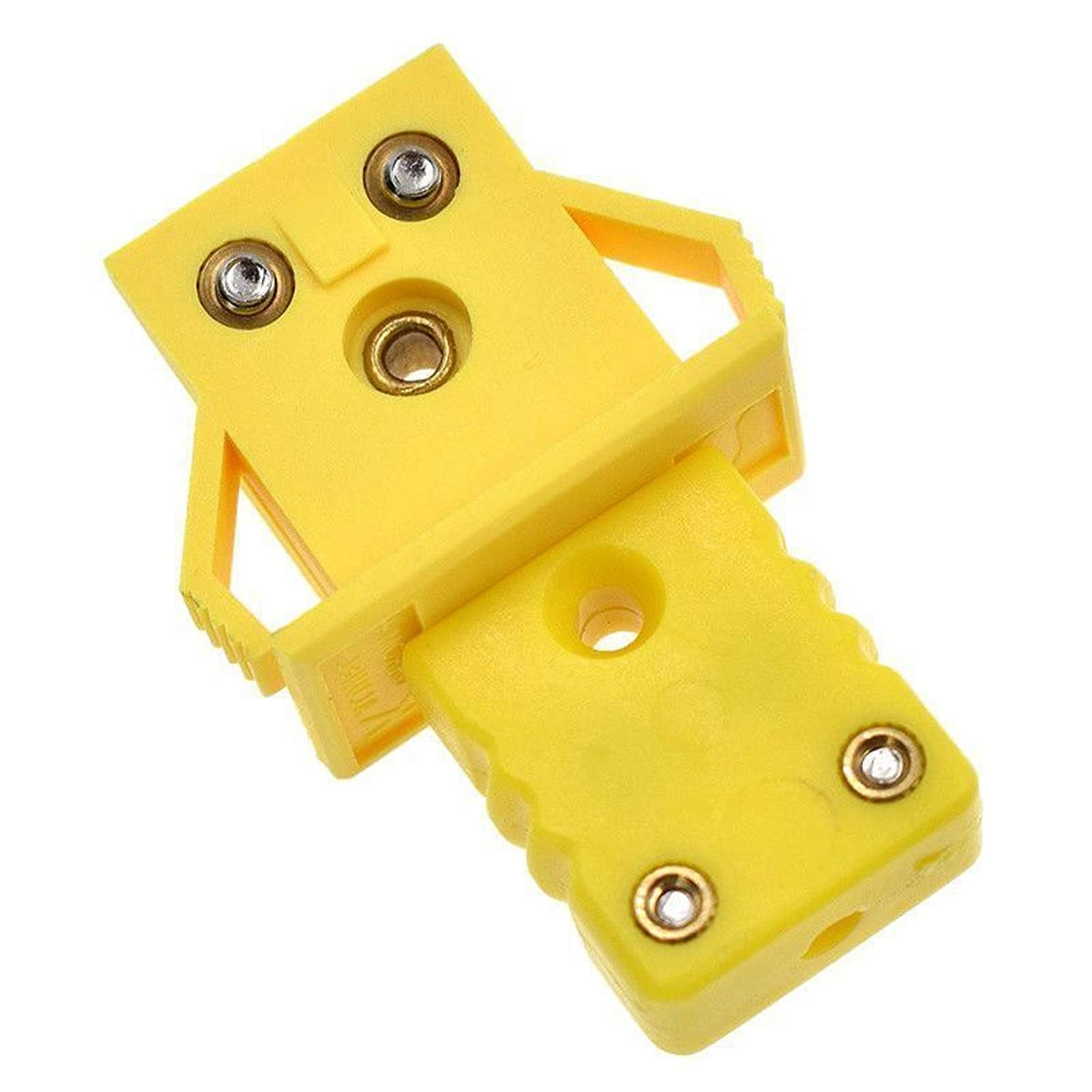 Yellow 1 Pair Socket and Plug Connector K Type Male Female Thermocouple Plug Panel Mount Adapter Set