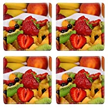 Liili Natural Rubber Square Coasters IMAGE ID 32181948 Fresh fruits salad on plate with berries and juice close up