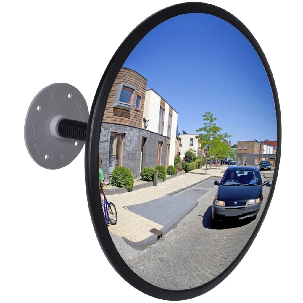 Adjustable 12'' Curved Security Mirror For Indoor Traffic Convex Mirror, Convex Traffic Mirror Acrylic Black -Extends Your Field Of View To Increase Safety