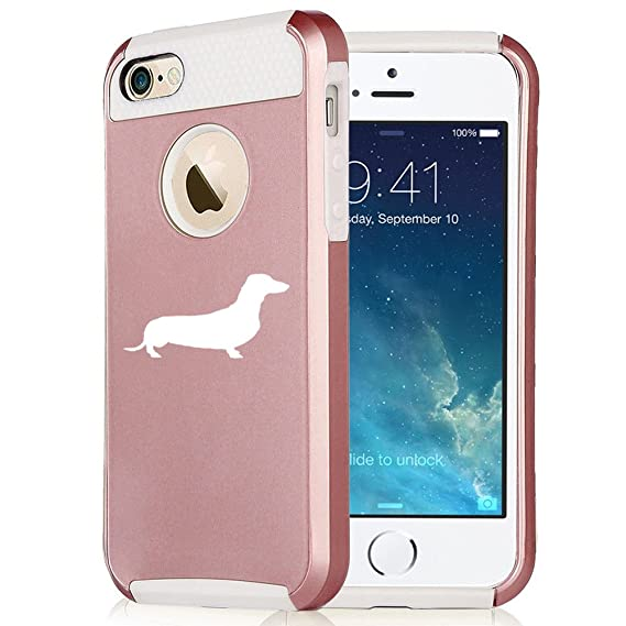 For Apple iPhone 6 6s Rose Gold Shockproof Impact Hard Case Cover Dachshund (Rose Gold / White)