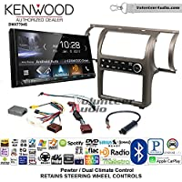 Volunteer Audio Kenwood DMX7704S Double Din Radio Install Kit with Apple CarPlay Android Auto Bluetooth Fits 2003-2004 Infiniti G35 (Pewter) (Dual zone A/C controls)