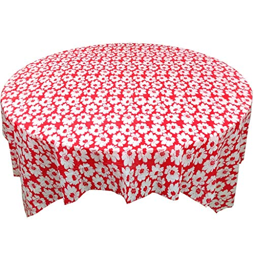 Disposable Plastic Tablecloth,Checkered Bbq Tablecloth,Wedding Round table Red & white Gingham Checkerboard Table cover-Red (10 pieces) 170170cm -
