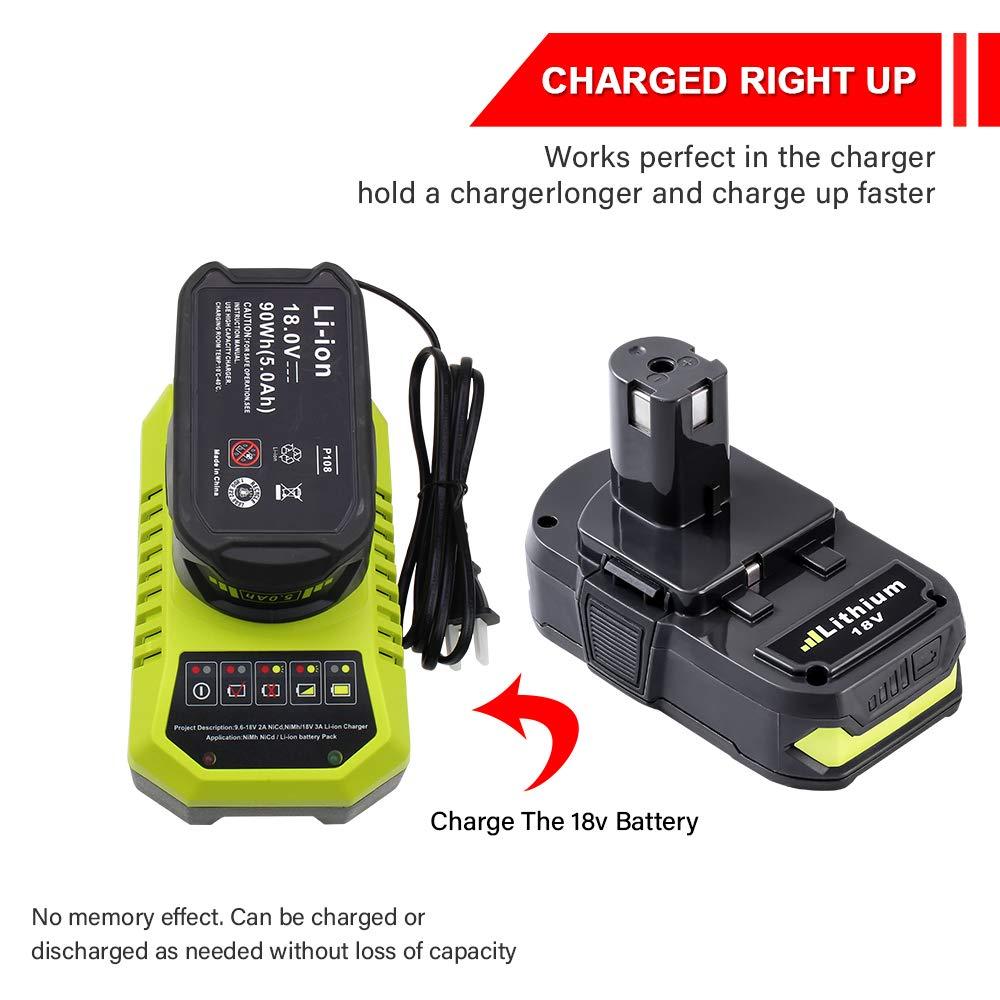 Plus Power Tool Battery 2-PACK 3000mAh for Ryobi 18V Lithium Ion Battery P102 P104 P105 P103 P107 P108 for Ryobi 18-Volt ONE