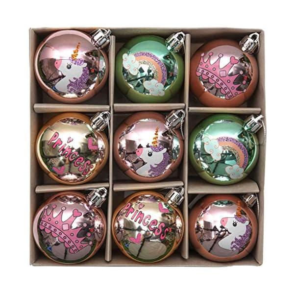 Valery Madelyn Palle di Natale 9 Pezzi 6 cm Palline di Natale, Decorazioni Natalizie Infrangibili Ricoperte di Zucchero Rosa e Oro per la Decorazione Dell'Albero di Natale 1 spesavip