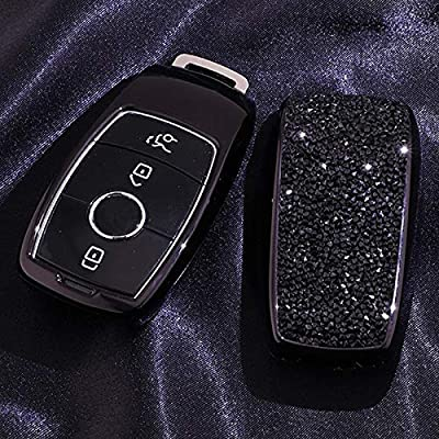 Luxury 3 4 Buttons 3D Bling Smart keyless Entry Remote Key Fob case Cover for Mercedes-Benz E-Class S-Class W213 2016 2020 2020 2020 Keychain (Black): Car Electronics