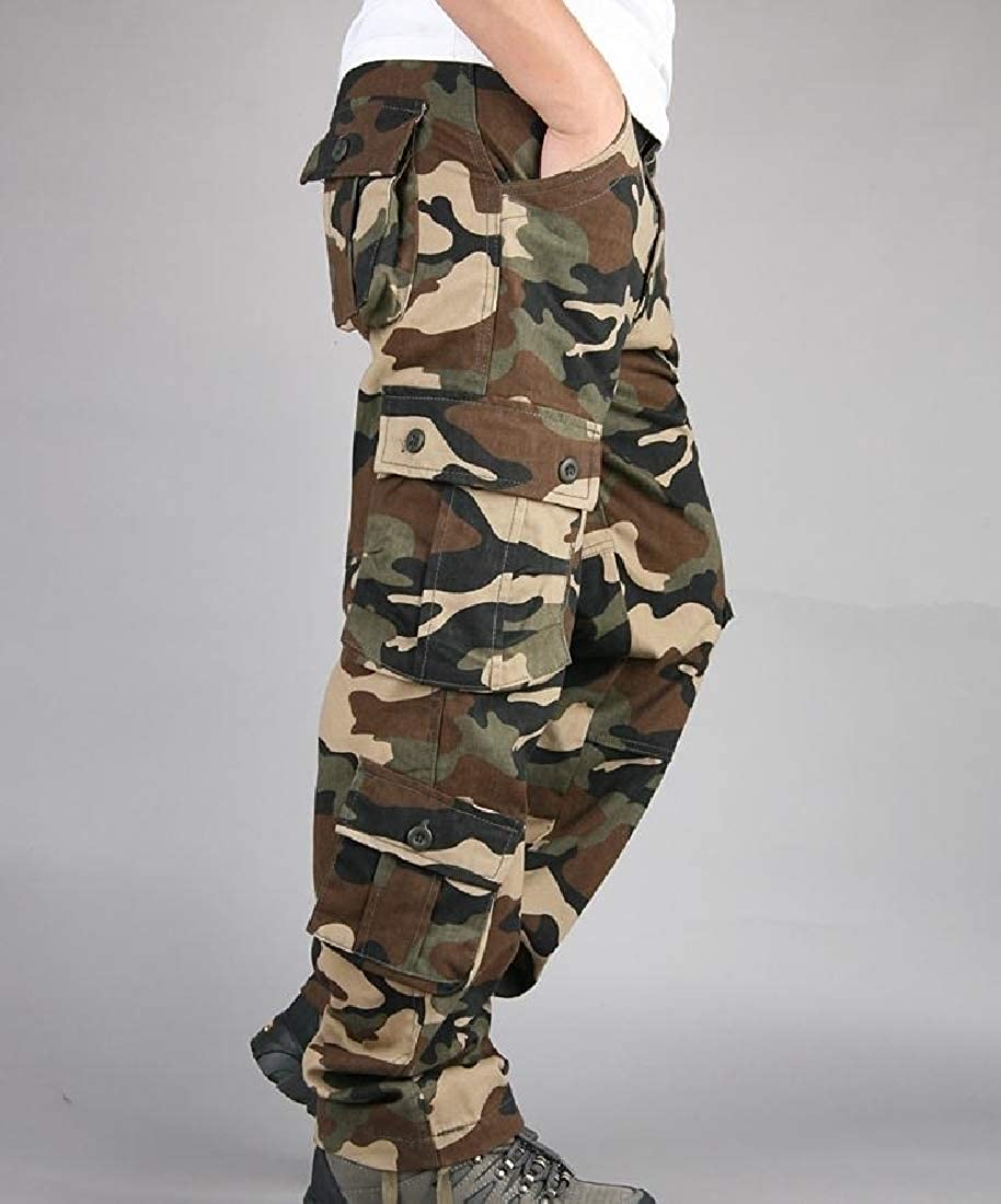 YUNY Mens Camo Multi-Pocket Straight Casual Outdoor Cargo Pants Khaki 38