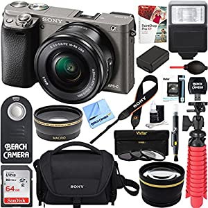 Sony Alpha a6000 24.3MP Wi-Fi Mirrorless Camera 16-50mm & 55-210mm Zoom Lens (Grey) + 64GB Accessory Bundle + DSLR Photo Bag + Extra Battery+Wide Angle Lens+2x Telephoto Lens+Flash+Remote+Tripod