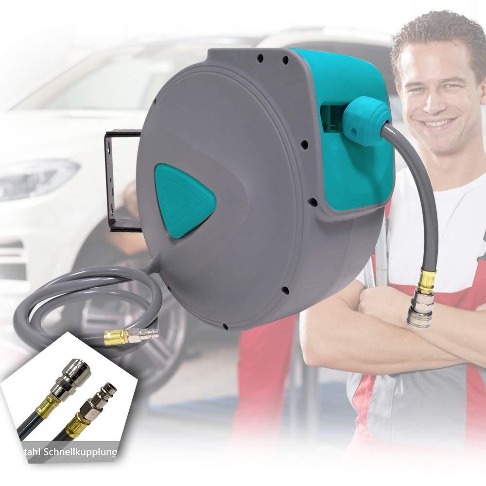 HENGMEI 15m Manguera de aire comprimido Carrete de manguera de aire Autom/ático de Aire Comprimido