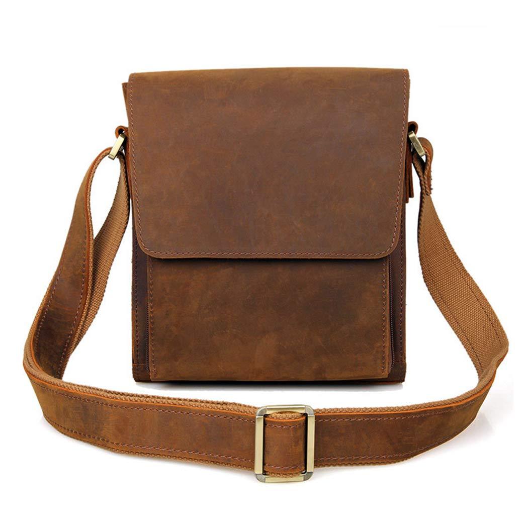 YWY Mens Briefcase Vintage Leather Messenger Bag Shoulder Crossbody Bag College Bag,Brown,227.525.5