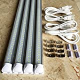 "4-Pack 48"" LED Tube Daylight 4-foot Long Integrated T8 LED Tube Light Fixture - 6500K - 24W LED (=180 Watt) with US Plug and Linkable Connection"