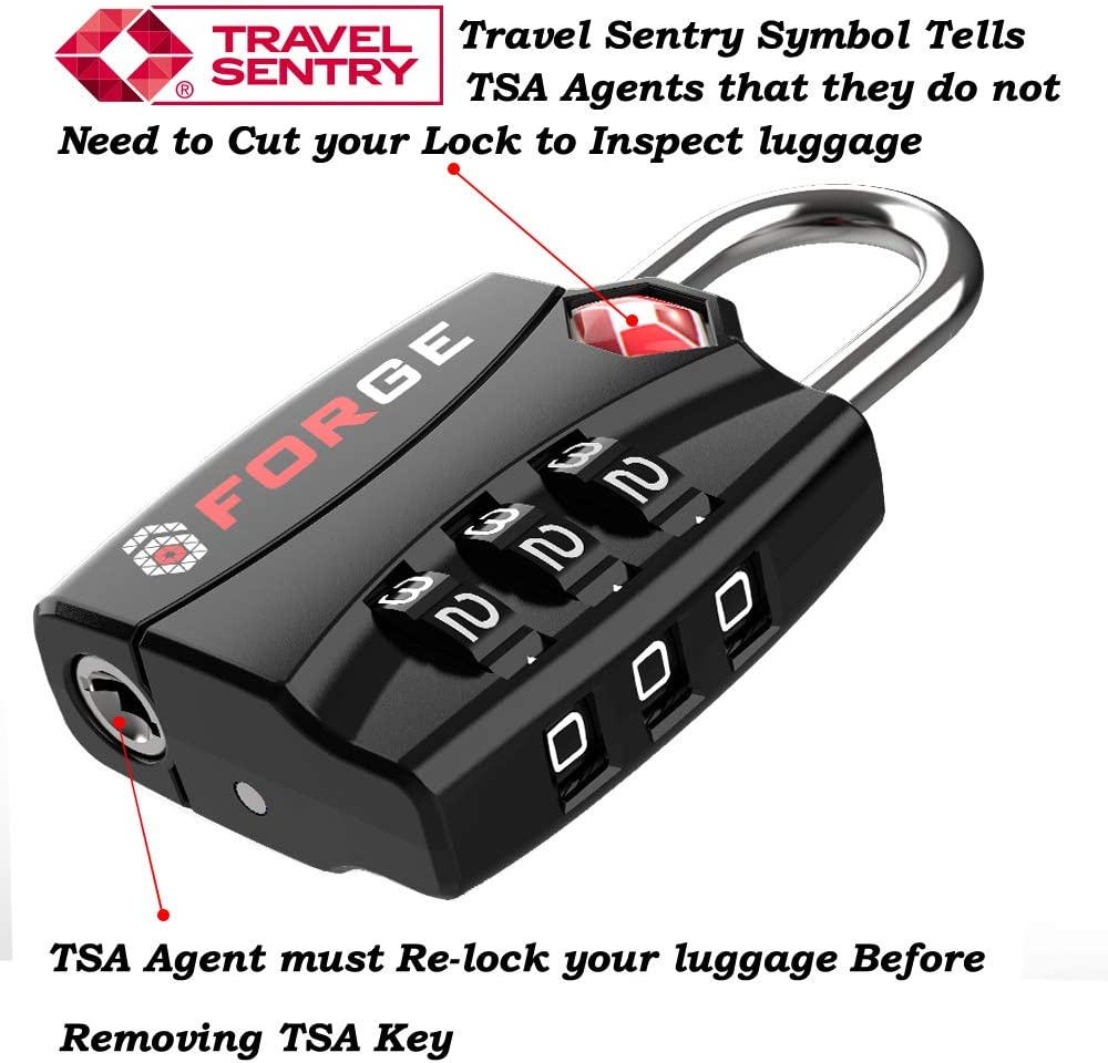 | Forge TSA Luggage Combination Lock - Open Alert Indicator, Easy Read Dials, Alloy Body- Ideal for Travel, Lockers, Bags (Black 4Pk) | Luggage Locks