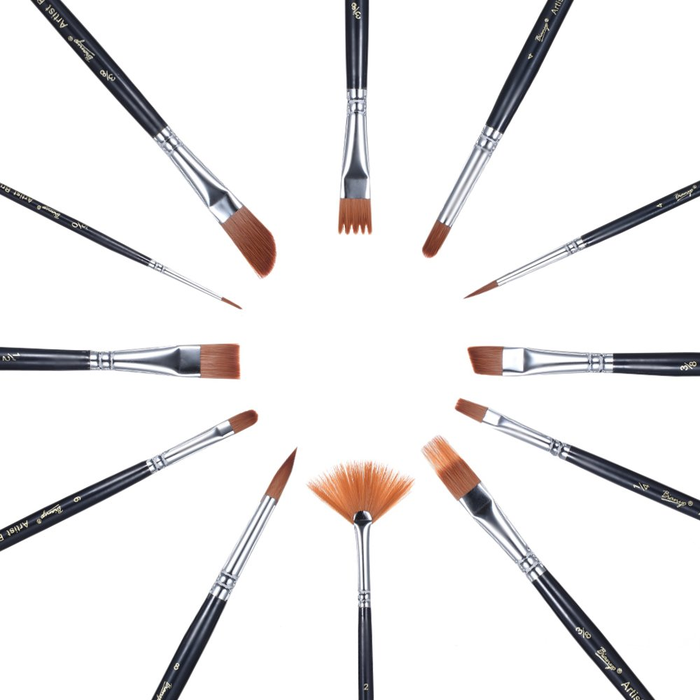 Aibecy 12PCS//Pack Paint Brush kit set rotonda punta in nylon Hair Artist Acrylic Aquarelle acquerello pittura ad olio