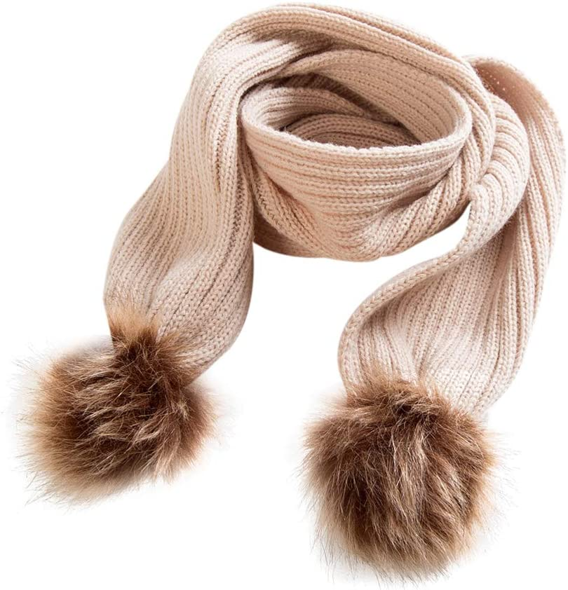 BESTOYARD Niños Bufanda de Abrigo del Cuello Bufandas de Invierno de Piel sintética Bola Pom Pom Bufanda Chal de Punto cálido Bufanda para bebés niños niñas (Caqui)