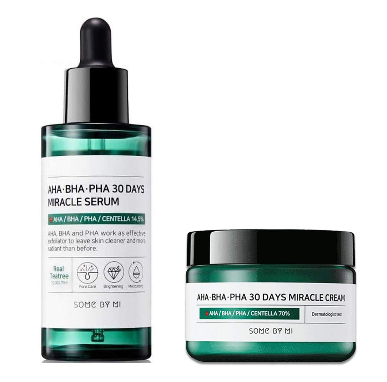 Somebymi AHA BHA PHA Miracle Serum (1.7 oz / 50ml) + Cream (1.7 oz / 50ml) Skin Barrier & Recovery, Soothing with Tea Tree 10,000ppm for Wrinkle & Whitening Care (Last of AHA BHA PHA Miracle Series)