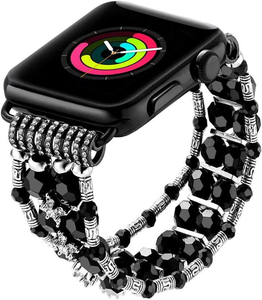 SBT Watch Band For Apple Watch, Bracelet Compatible With Apple Watch, Women's Classy Crystal Beaded Stretch Elastic (Black 42-44 MM)