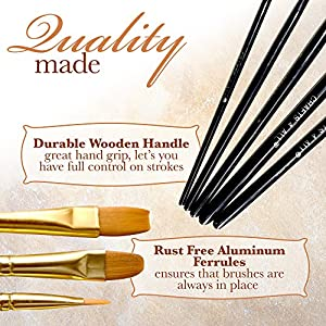 Paint Brushes Set 10 Pieces Professional Fine Tip Paint Brush Set Round Pointed Tip Nylon Hair Artist Acrylic Paints Brush for Watercolor Oil Painting by Crafts 4 All (10)