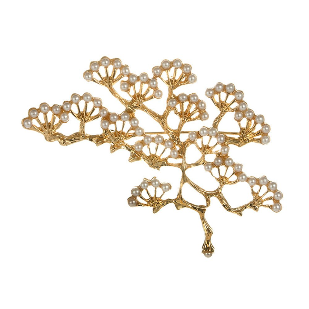 Gold Silver Pine Tree Pearl Flower Brooch Pins for Women MINGHUA