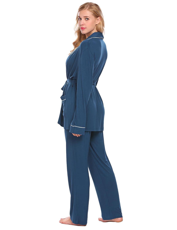 b3a775b90b Ekouaer Women s Long Sleeve Pajama Set Sleep Robe Shirt and Long Pants   Amazon.ca  Clothing   Accessories