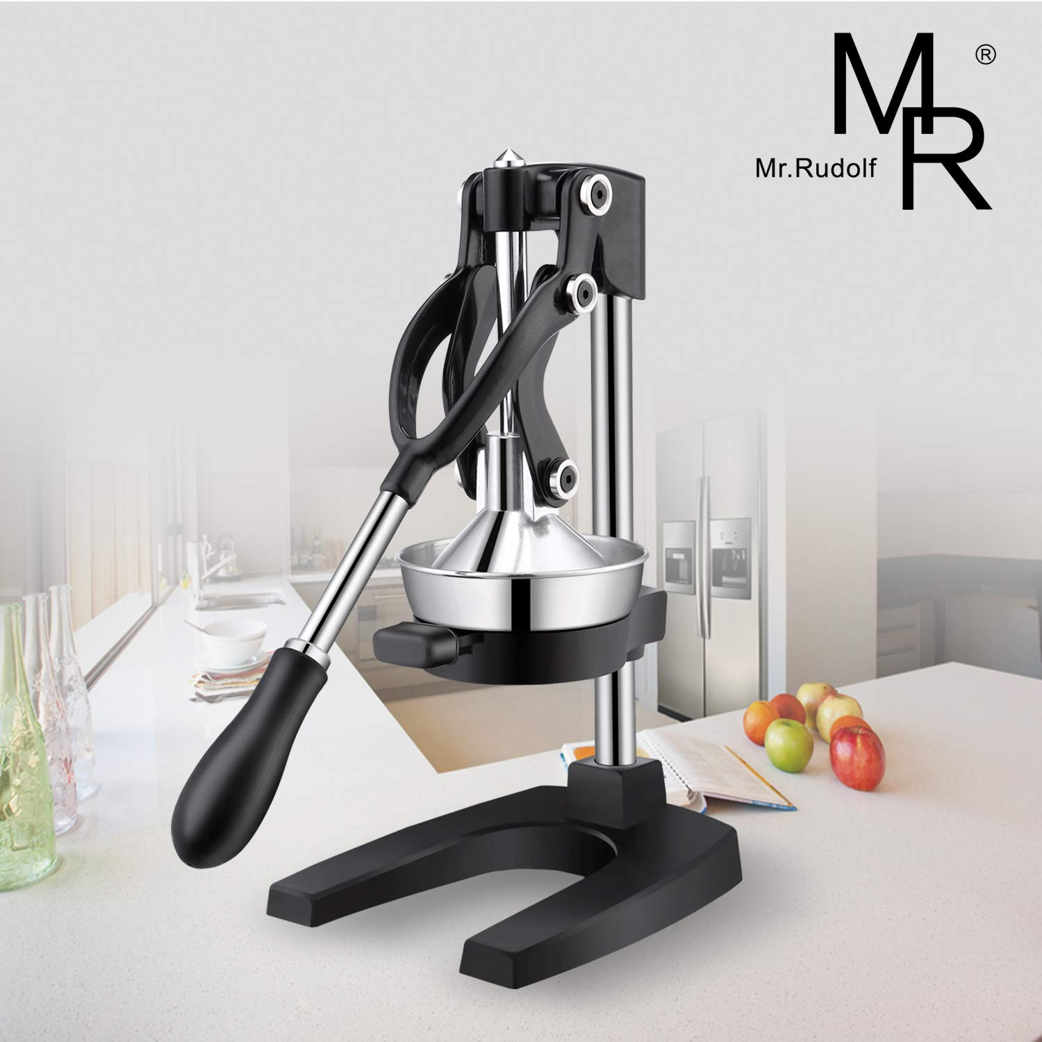 Large Citrus Juicer - Commercial Grade Press Orange and Lemon Press Juicing -Extracts Maximum Juice - Heavy Duty Cast Iron Base and Handle - Non Skid Suction Foot Base by Mr Rudolf