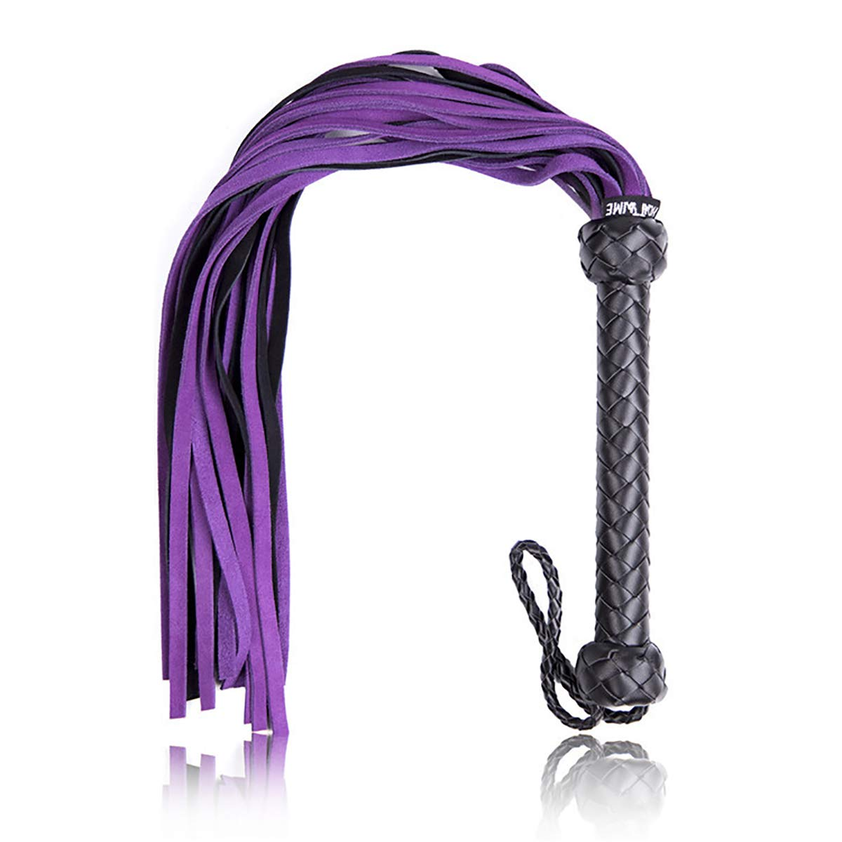 FIZZENN BDSM Premium Leather Flogger Whip with Braided Handle Grip and Wrist Strap for Cosplay Kit, Purple and Black by FIZZENN