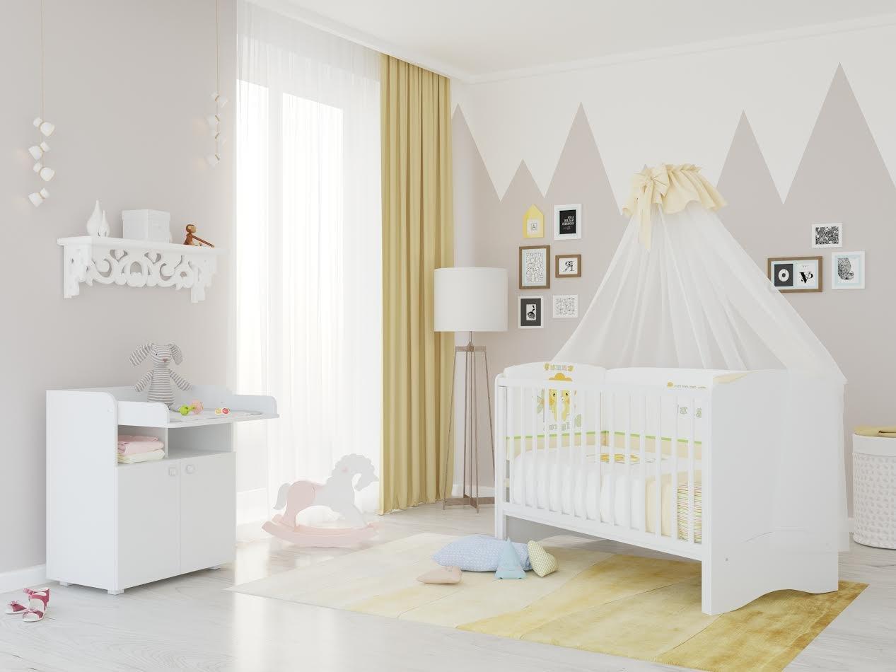 Polini Kids Kinderzimmer Set Simple Kombi Kinderbett Mit Wickelkommode In  Weiß: Amazon.de: Baby