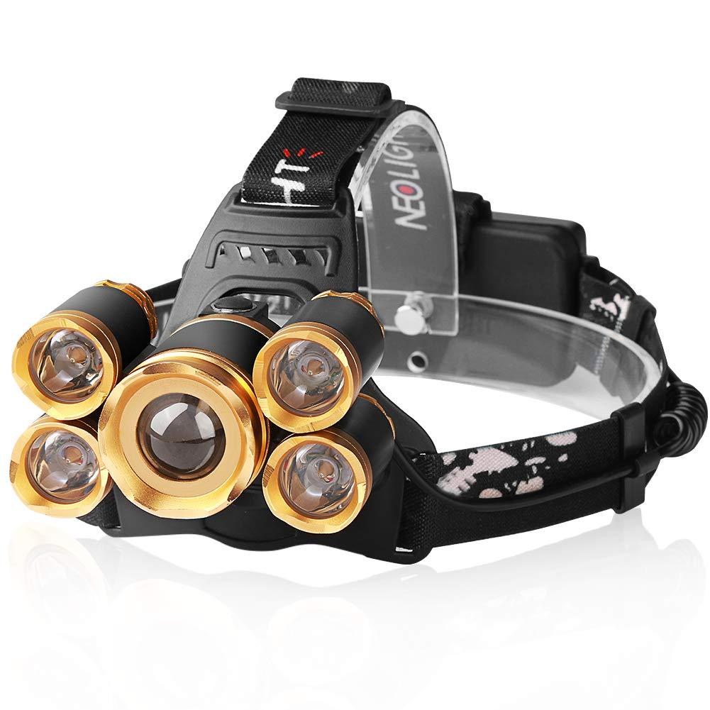 LED Stirnlampe Wiederaufladbar , Neolight LED Kopflampe USB mit Gestensteuerung 4 Modi IPX4 wasserdicht Ideal für Camping/Joggen/Wandern, Schwarz