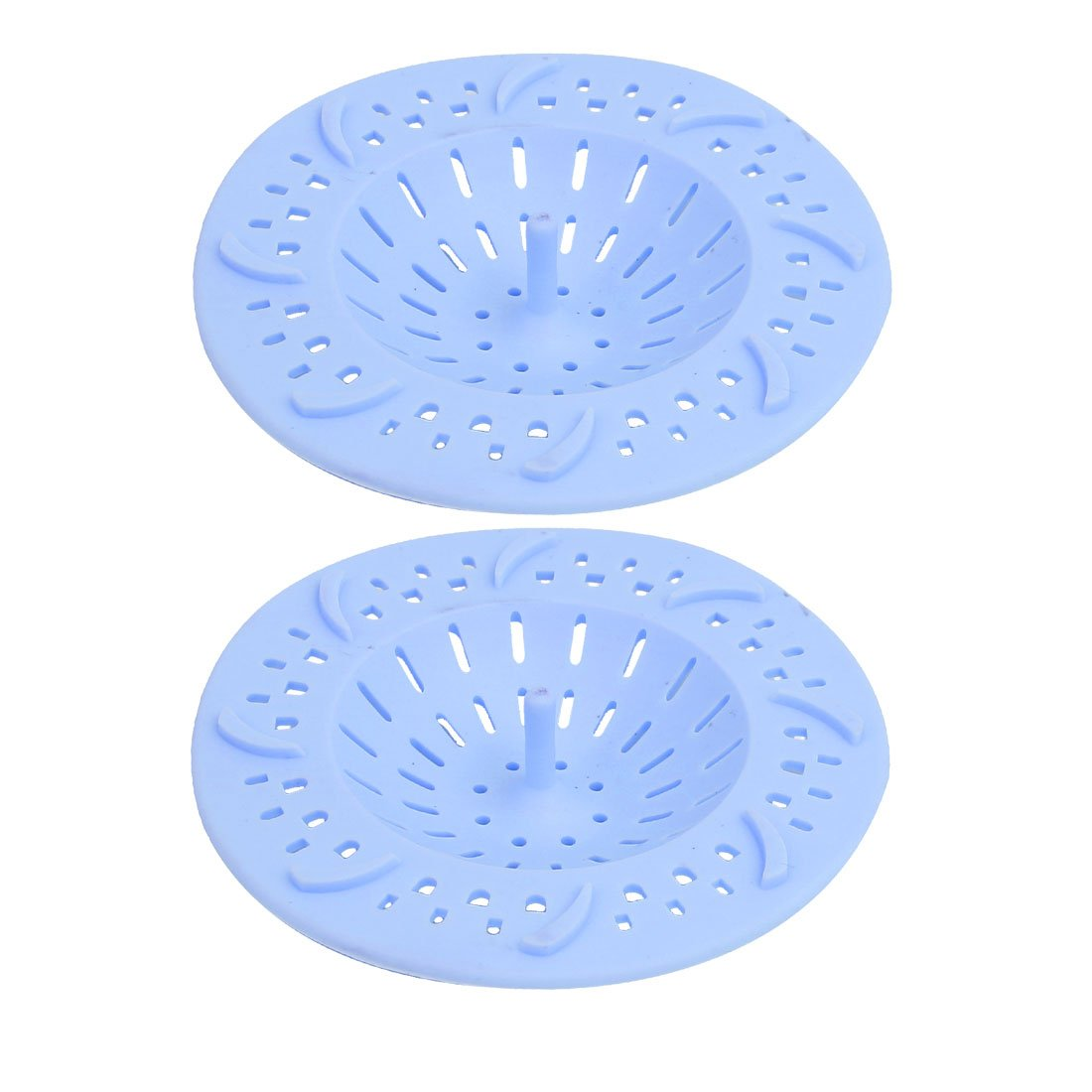sourcingmap® 98mm Diameter Silicone Drain Hair Catcher Strainer Blue 2pcs