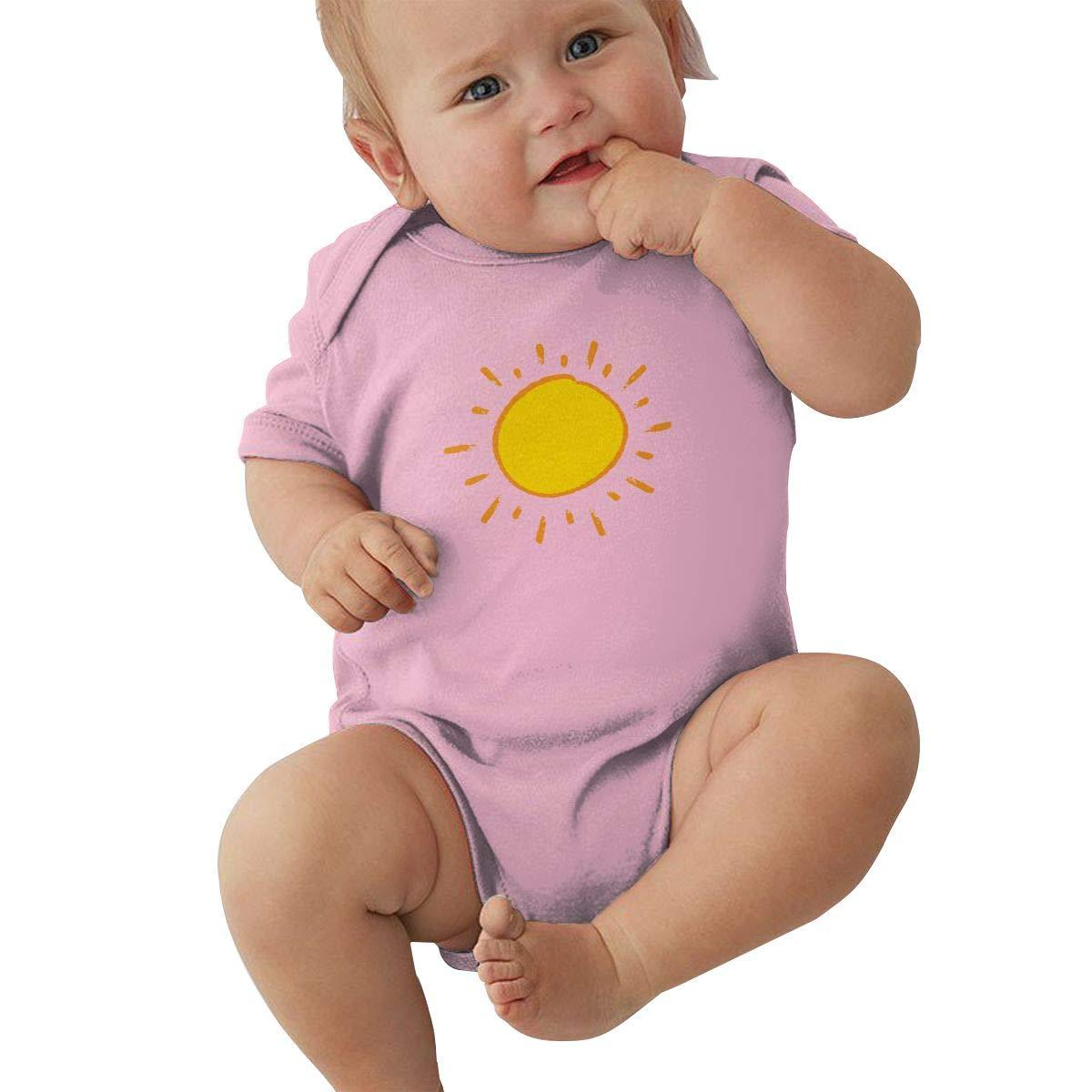 Dfenere Sunshine Retro Newborn Baby Short Sleeve Bodysuit Romper Infant Summer Clothing Black