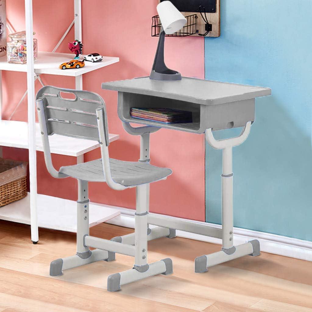 Cewtolkar Kids Desk and Chair Set Height Adjustable Ergonomic Study School Writing Desk,School and Home Kids Study Table