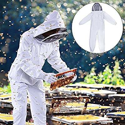 Top Home Dec Professional Cotton Full Body Beekeeping Suit with Fencing Veil Large