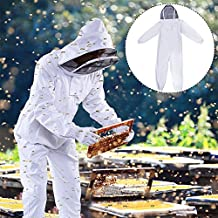 """DGCUS Professional Cotton Full Body Beekeeping Suit with Self Supporting Veil Hood(For Person No Taller than 5' 9"""")"""