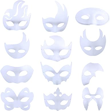 DIY Unpainted Venetian White Blank Masquerade Paper Pulp MALE /& FEMALE Mask