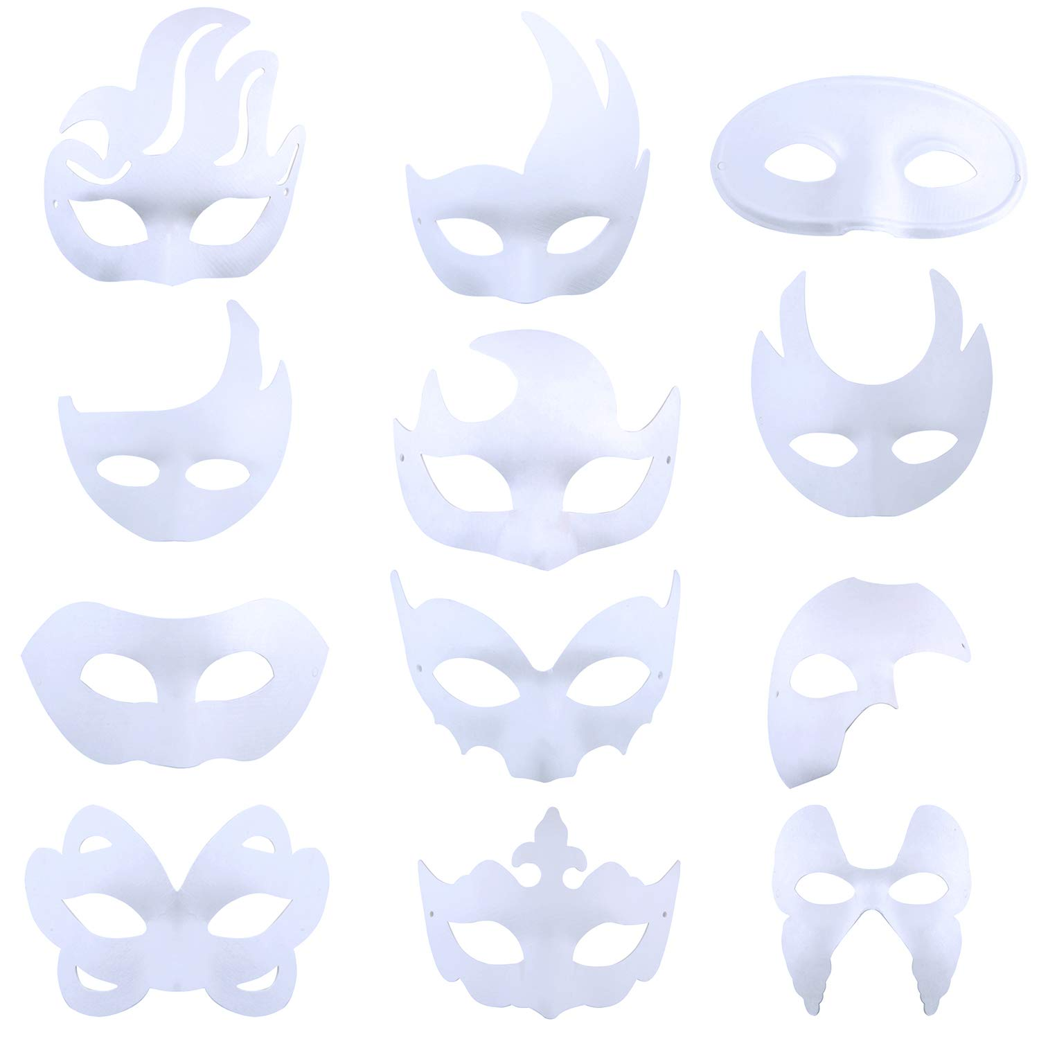DIY White Mask,Kapmore 12 PCS Creative DIY Blank Mask Mardi Gras Halloween Party Plain Half Face Masks for Adult Kids