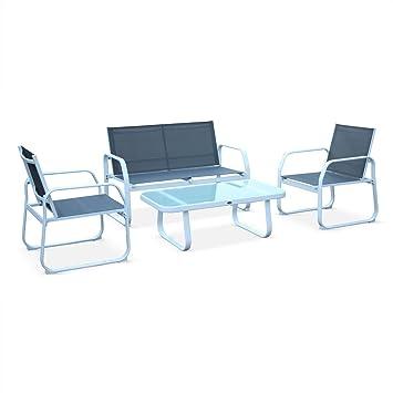 Alice\'s Garden Muebles de jardin, Aluminio y textileno, Blanco Gris ...