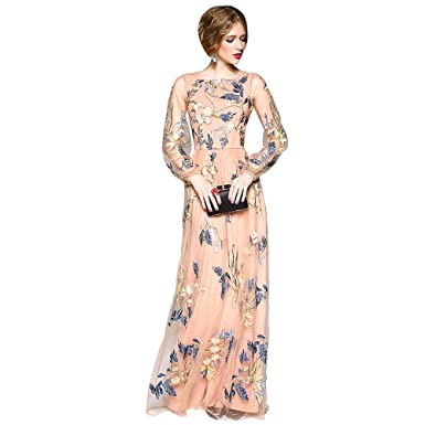 DEZZAL Womens Floral Embroidered Spliced Tulle Maxi Evening Cocktail Prom Dress(S)