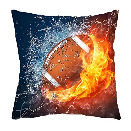 VIPbuy Home Décor Super Soft Short Plush Square Throw Pillow Case Sofa Cushion Cover with Invisible Zipper- 18 x 18 inches -No Insert- Football Theme ()