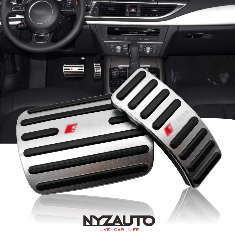 NYZAUTO Anti-Slip Performance Foot Pedal Pads kit for Audi A4 A5 A6 A7 A8 Q5,Auto No Drilling Aluminum Brake and Gas Accelerator Pedal Covers